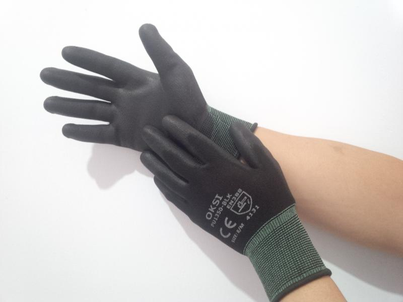 13 Gauge polyester palm black PU coated